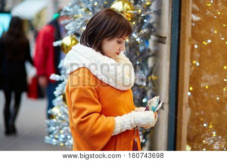 Worried Woman Holding Purse With Russian Roubles
