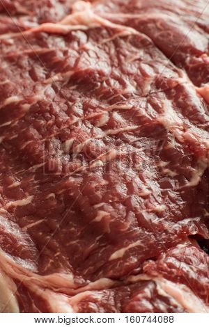 Fresh Steak On Marble Background. Uncooked Beefsteak Cooking On A Kitchen. Delicious, Spicy, Juicy M