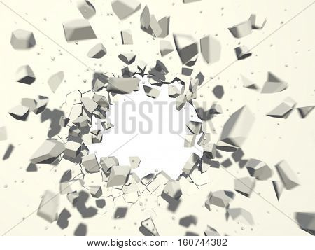 Wall explosion with white copy space background. 3D rendering.