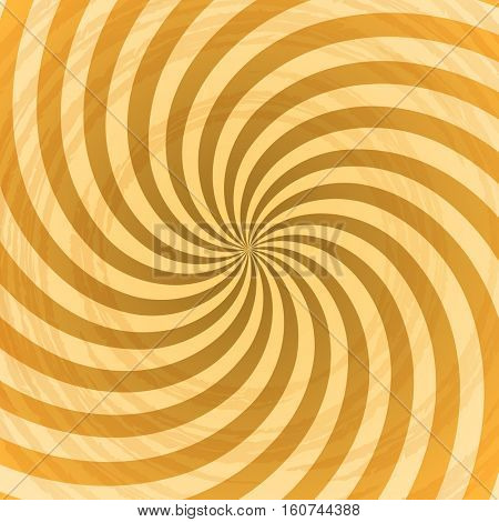 Abstract yellow rays swirl background.