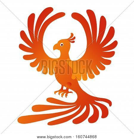 Vector illustration of the Phoenix on the white background. Fire-bird.