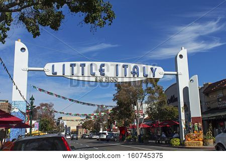 SAN DIEGO,CA - NOVEMBER 12:Little Italy in San Diego has many shops,coffee and restaurants of San Diego,California,on November 12, 2016.