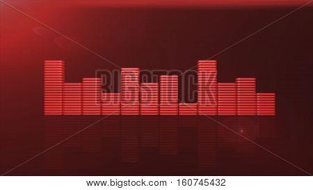 nice red equalizer bars 3d illustration  render