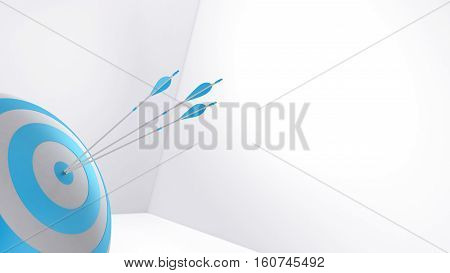 3d rendering blue arrow and bullseye illustration
