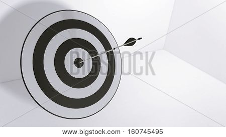 3d rendering black arrow and bullseye illustration