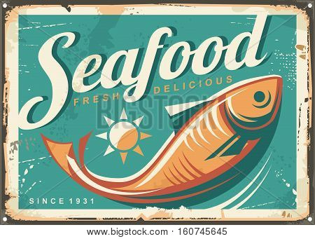 Seafood restaurant vintage style signpost design concept with fish illustration on turquoise blue background. Vector image.