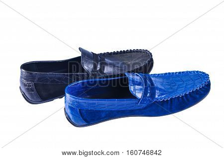 Men's leather loafers (moccasins) isolated on white background