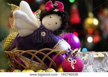 A natural cotton soft toy angel that brings a heart peaceful handmade soft toy.Christmas decoration handmade toy Angel.