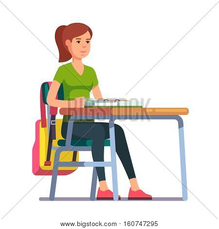 Teen student girl sitting at her school or college desk. Flat style color modern vector illustration.
