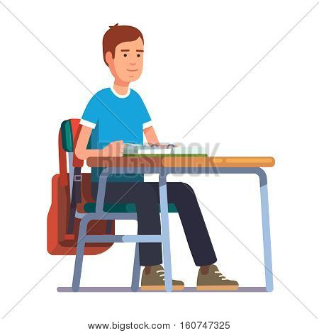 Teen student boy sitting at his school or college desk. Flat style color modern vector illustration.