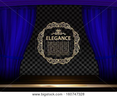 Vector blue curtains in theater or opera. Elegance text between curtains scene gracefully on transparent background. Classic backdrop with retro sign for poster and cinema screen
