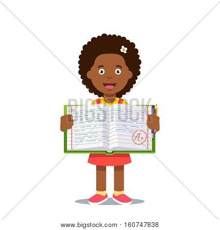 Cute little girl holding an open work book with handwriting and A grade. Flat style color modern vector illustration.