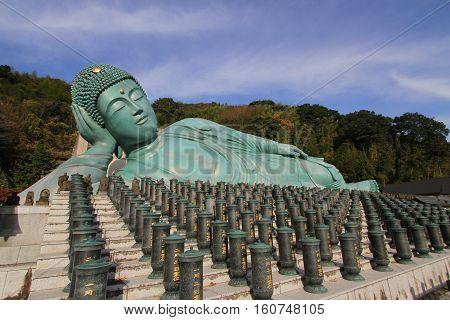 nanzo-in Temple Shingon sect Buddhist temple in Sasaguri Fukuoka Prefecture Japan.bronze statue of a reclining Buddha the largest bronze statue in the world