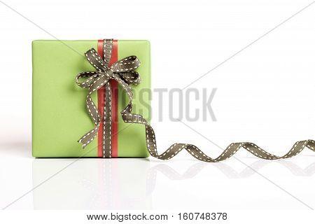 Green Gift Box And Red Ribbon