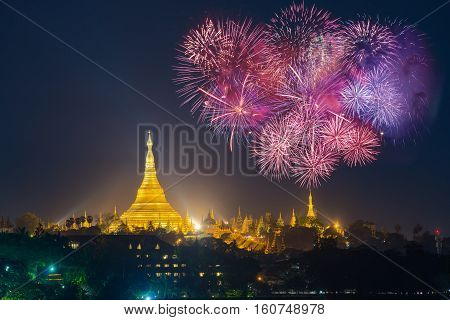 Shwedagon pagoda with with Fireworks celebration New year day 2017 in Yangon Myanmar