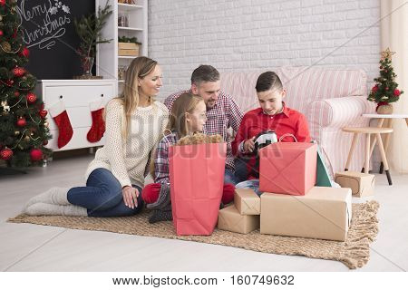 Family Unpacking Presents