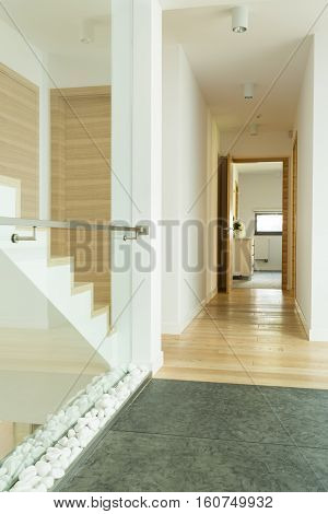 Wooden Corridor With Stairs