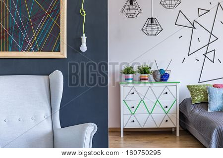 Modern Bedroom With Geometrical Motives