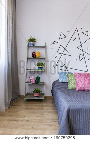 Bright Bedroom With Flower Pots