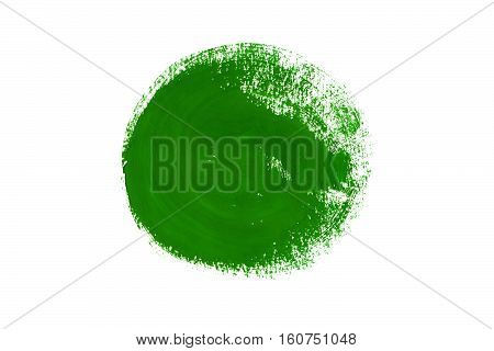 Green Gouache Painted Circle Isolated On White Background.