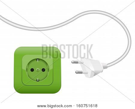 Green socket, symbol for clean eco power and green energy - SCHUKO connector system.