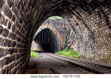 View from one tunnel to other tunnel. Circum-Baikal Railway. Irkutsk region. Russia