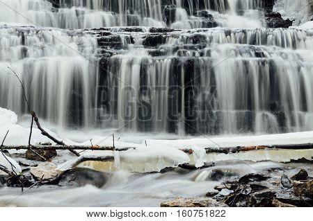 Vasaristi cascade closeup Lahemaa national park Estonia. Long exposure
