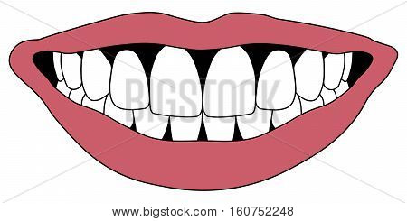 Hollywood smile with white teeth red lips, pursed in occlusion front teeth, vector