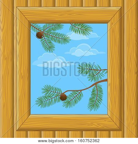 Background with Wooden Wall and Window with View of Blue Sky, Clouds and Pine Branches. Vector