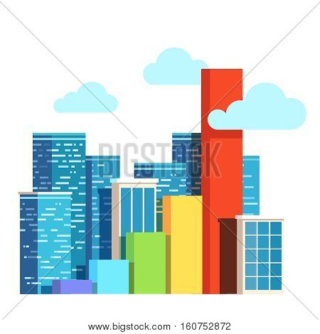 City growth concept. Real estate prices upgrowth bar chart. Urban territory increase. Flat style vector illustration clipart.