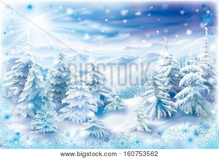Winter landscape with snowy trees and snowflakes frame
