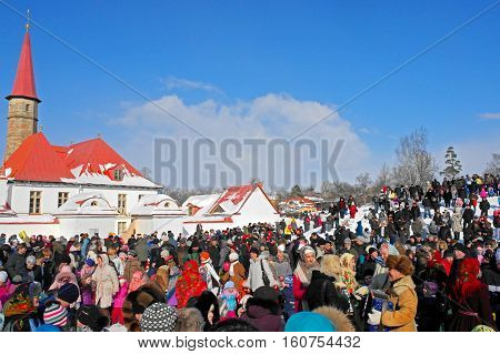 Gatchina, Leningrad region, Russia - March 5, 2011: Maslenitsa. a traditional spring holiday at the Russian peoples. Festivities Maslenitsa near Priory Palace.