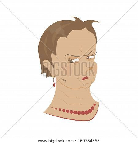 Old womans portrait isolated on white background. Pensioner is suspecting, doubts grandmother. Expression of emotion on his face. Vector illustration