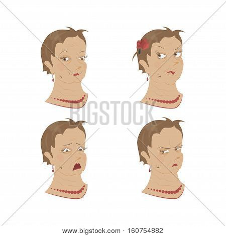 Set of Old womans portrait isolated on white background. Different Expression of emotion on her face. Vector illustration