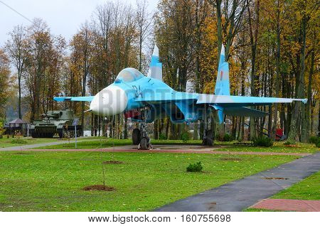 SENNO BELARUS - OCTOBER 6 2016: Fighter Su-27 in Park of Three Heroes Senno Vitebsk region Belarus