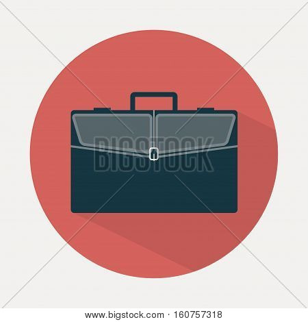 Briefcase icon. Business bag in flat style with long shadow. Vector illustration