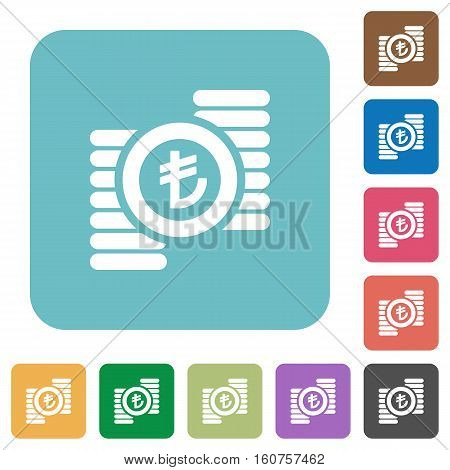 Turkish Lira coins flat icons on simple color square background.