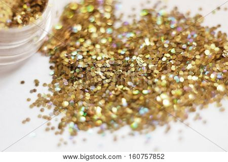 Gold Sequins. Placer Gold Glitter Texture And Background,gold Glitters