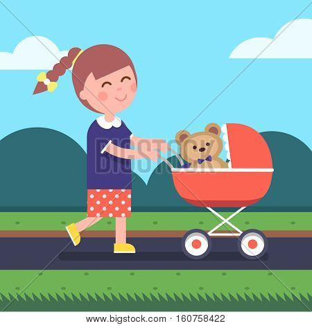 Little girl playing mother daughter game. Pretending to be a mom with child teddy bear in her kid stroller. Modern flat style vector illustration cartoon clipart.