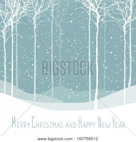 Merry Christmas postcard. Calm winter scene. Background with white tree silhouettes under snowfall. Calm winter forest. Snowfall