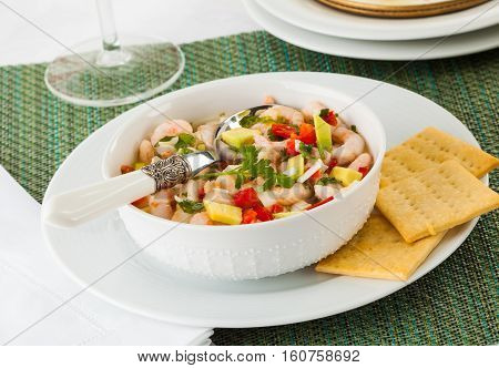 Tica ceviche typical dish from Central and South America