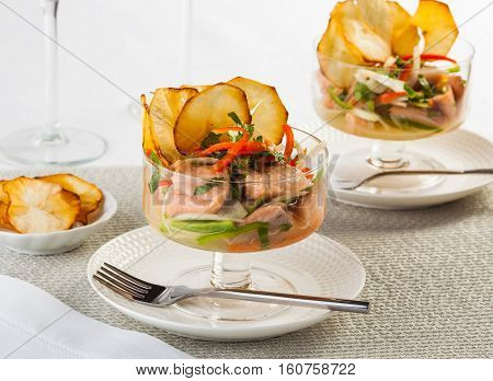 Salmon ceviche typical dish from Central and South America