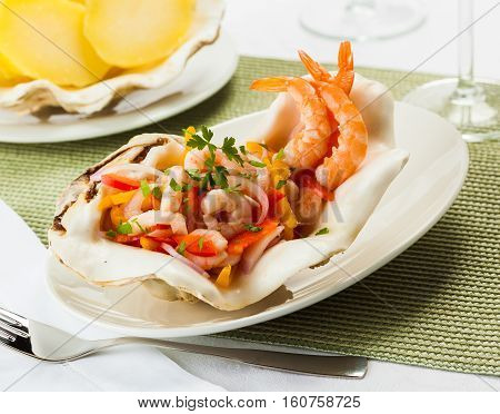 Shrimp ceviche typical dish from Central and South America