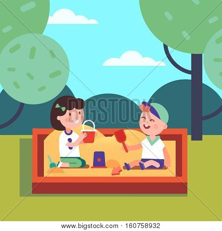 Kids boy and girl playing in sandpit doing sand figures with bucket and shovel. Modern flat style vector illustration cartoon clipart.