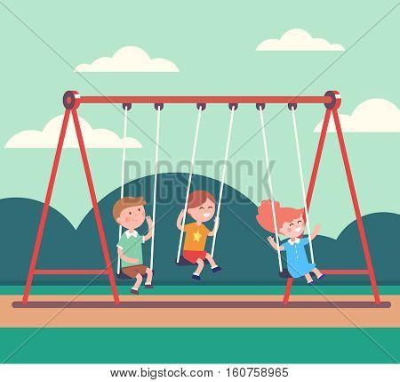 Three kids boys and girl swinging on a swing in public park together. Modern flat style vector illustration cartoon clipart.