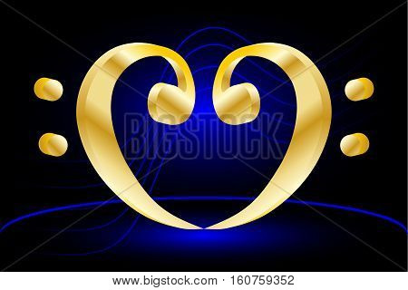 Heart - bass clef , Music note stave and heart bass clef