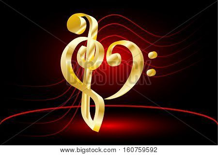 Heart - violin and bass clef , Music note stave and heart violin and bass clef