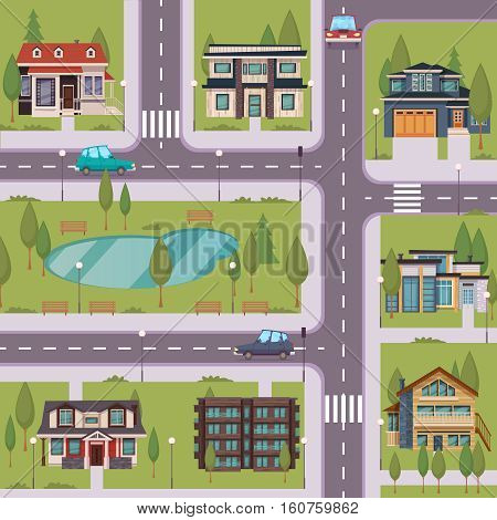 Countryside flat template with suburban residential houses cottages estates trees grass lake road cars vector illustration