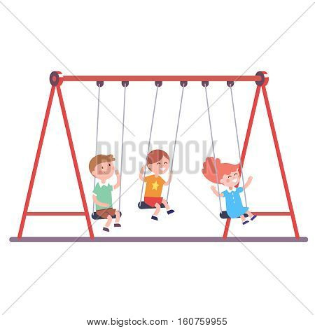 Three kids boys and girl swinging on a swing together. Modern flat style vector illustration cartoon clipart.
