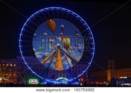 Lyon, France, December 8, 2016 : Show On The Big Wheel Of Bellecour. The Festival Of Lights Expresse